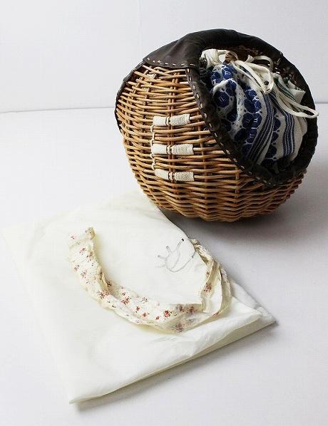 ebagosブライドルレザー X 紅籐 E刺繍 丸型かごバッグ