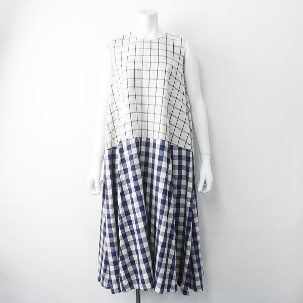45rpm7045078 チェック リネン DRESS