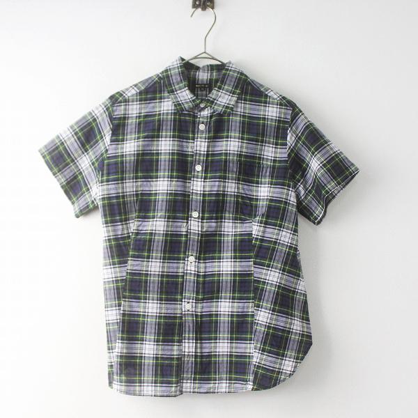 R&D.M.Co-コットン シルク タータンチェック 半袖 シャツ
