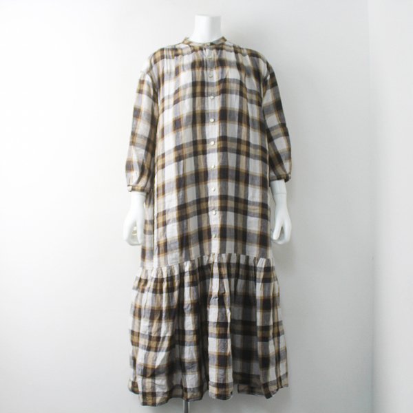 45rpm7075033 リネンの バッファローチェック ドレス