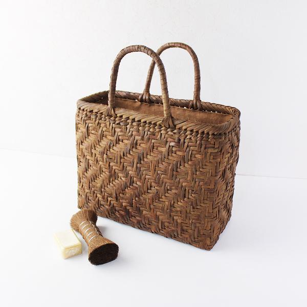 伝統工芸品国産 山ぶどう 山葡萄 流水網代編 柿渋染内布付き かごバッグ