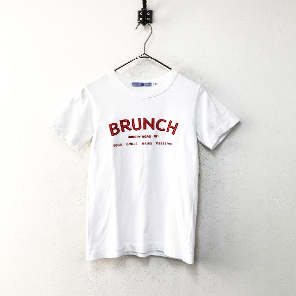 R&D.M.Co- オールドマンズテーラー コットン ロゴ フロッキープリント Tシャツ