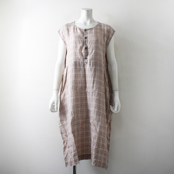 2020SS Vlas Blomme ヴラスブラム Vintage Pink Check ヴィンテージピンクチェック フレンチスリーブワンピース