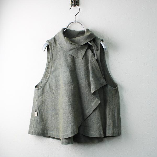 USAATOUSAATO うさと 手織り ヘンプ100% ハイネックカシュクールノースリーブブラウス